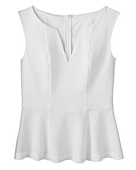 Simply Be Sleeveless Peplum Textured Top