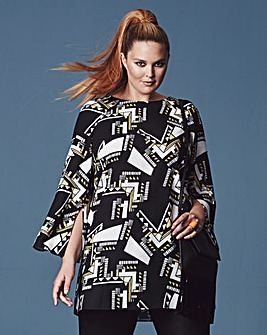 Simply Be Mono Split Bell-Sleeve Tunic