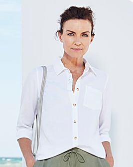 White Linen-Mix Blouse