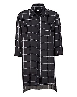 Black Check Longline Blouse