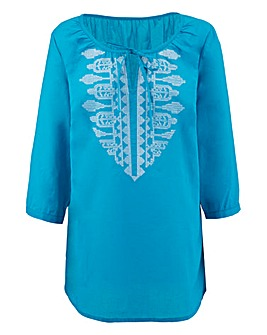 Turquoise Embroidered Gypsy Top