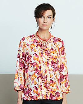 Orange Print Pleat Detail Blouse