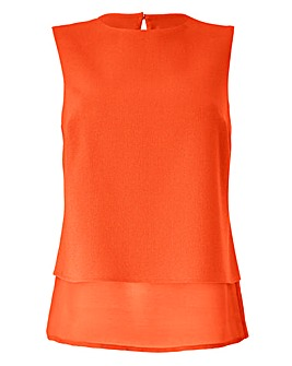 Orange Sleeveless Longline Shell Top