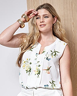 Printed Sleeveless Pleat Detail Blouse