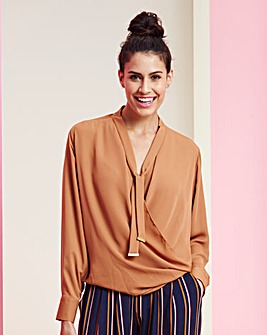 Tie Neck Pussybow Wrap Blouse
