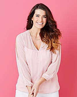 Bubble-Hem Cold Shoulder Top