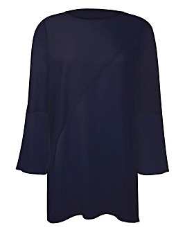 Navy Bell-Sleeve Tunic