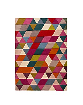Hand-carved Wool Prism Design Rug
