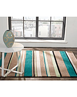 Hand-carved Broad Striped Design Rug