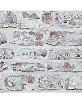Arthouse Whitewashed Wall Wallpaper