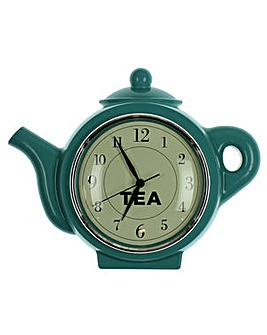 Hometime Teal Teapot Wall Clock