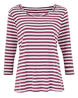 Stripe T Shirt with Neck Detail