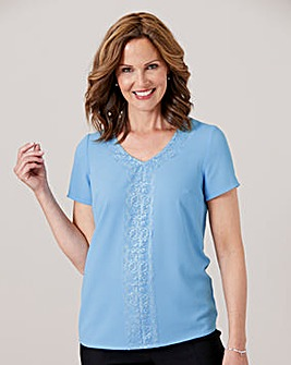 Bubble Crepe Shell Top with Lace Trim