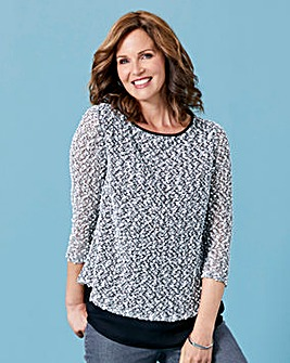 Boucle Jersey Top with Zip Detail