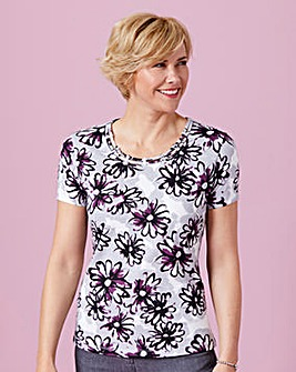 Print T Shirt with Diamante Trim