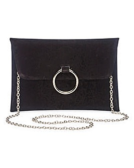 Sophie Black Ring Detail Clutch Bag