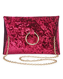 Sophie Burgundy Ring Detail Clutch Bag