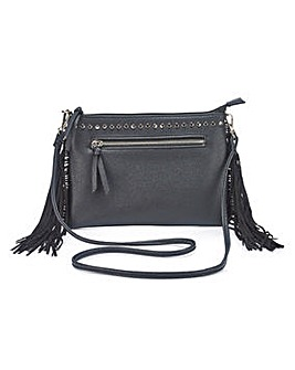 Fringing and Studded Black Shoulder Bag