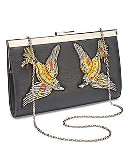 Lovebird Embroidered Clutch