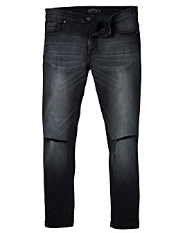 Label J Ripped Knee Washed Skinny Jean