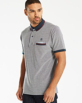 Black Label Marl Pique Polo Long