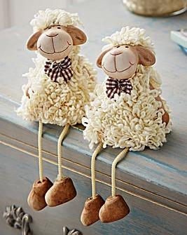 Dangly Legged Sheep Ornaments Set Of 2