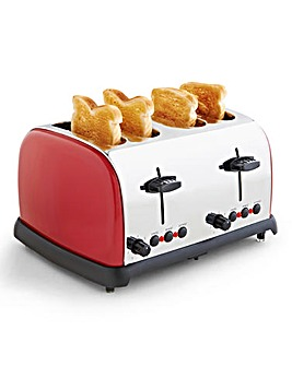 JDW 4 Slice Toaster Red