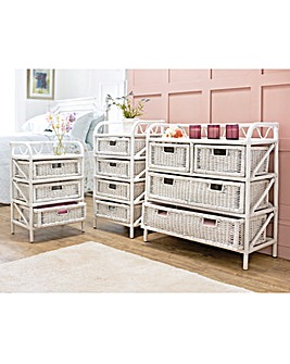 White Wicker Drawer Units 3 Drawer