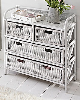 White Wicker 4 plus 2 Drawer Chest