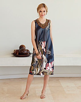 Nightingales Print Embellished Dress