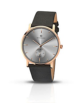 Accurist Watch With Black Leather Strap