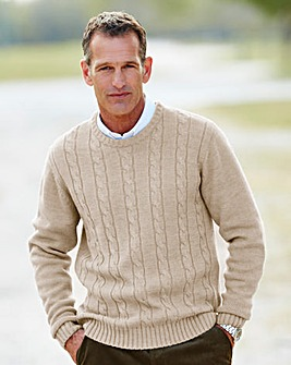 Premier Man Taupe Cable Crew Sweater