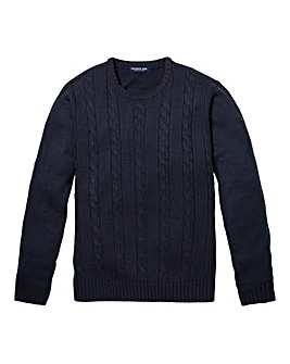 Premier Man Navy Cable Crew Sweater