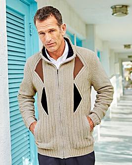 Premier Man Taupe Zip Cardigan