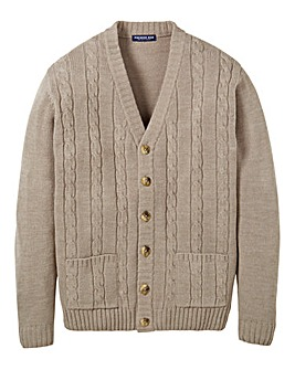 Premier Man Taupe Cable Cardigan