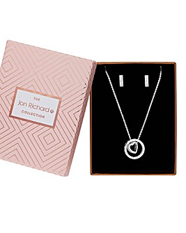Jon Richard Pave Heart Jewellery Set