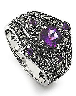 Amethyst & Marcasite Vintage Look Ring