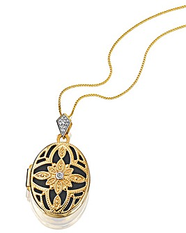 Yellow Gold Filigree Oval Locket