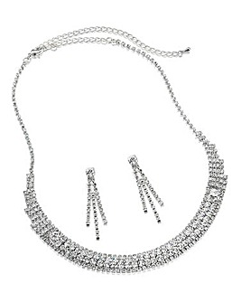 Glitzy Diamante Necklace & Earrings Set