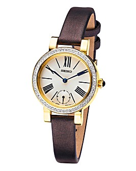 Seiko Ladies Brown Strap Watch
