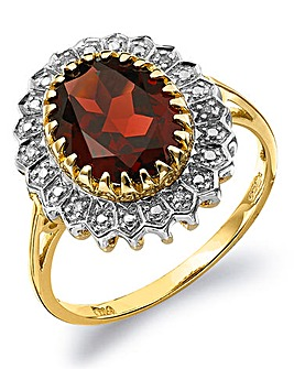 9 Carat Gold Garnet & Diamond-Set Ring