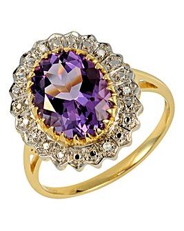 9 Carat Gold Amethyst & Diamond-Set Ring