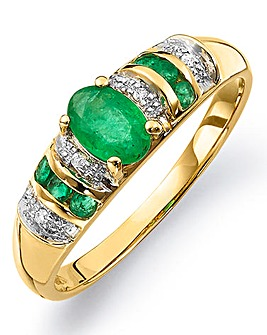 9 Carat Gold Emerald & Diamond-Set Ring
