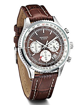 Sekonda Gents Brown Multi Dial Strap Wat