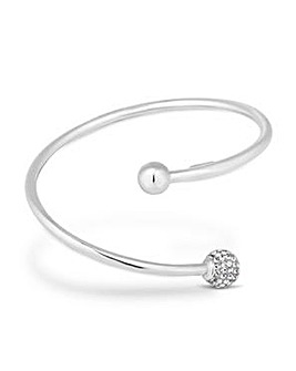 Simply Silver Polish And Pave Ball Cuff