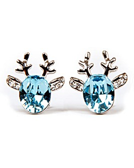 Reindeer Earrings Blue Swarovski Crystal