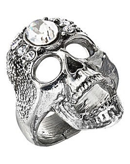 Alchemy Gothic Diamante Skull Ring