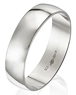 Platinum D Shape Gents Wedding Band-5mm