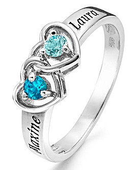 Sterling Silver Birthstone Heart Ring