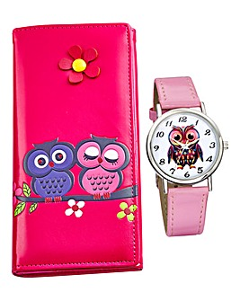 Ladies Pink Owl Watch and Purse